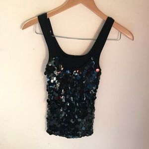 Silk Laundry Shelli Segal Sequins Top Small